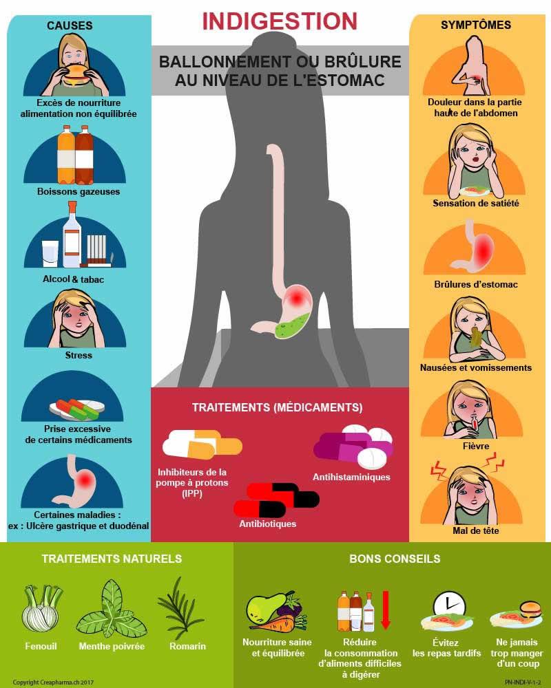 Indigestion : causes, symptômes & traitements   Creapharma